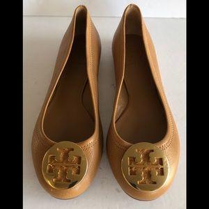Tory Burch Reva Ballerina Leather Flats Brown